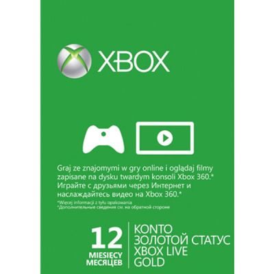 Microsoft Xbox 360 Live 12-mo Gold Card 52M-00122