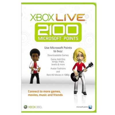 Microsoft Xbox 360 Live Points Retail 1 License 2100 points Sleeved 56P-00223
