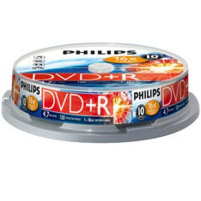 DVD/CD Philips DVD+R Philips 4.7 гб, 16х, 10 штук, Cake Box DVD+R010C/PH16