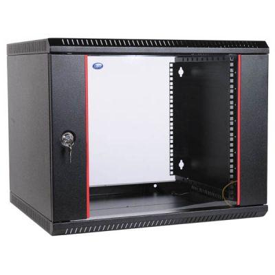 Шкаф ЦМО телекоммуникационный настенный разборный 9U (600х520) дверь стекло, цвет черный ШРН-Э-9.500-9005