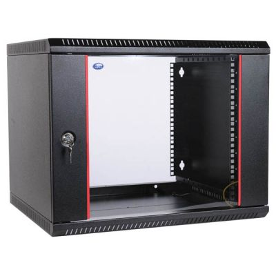 Шкаф ЦМО телекоммуникационный настенный разборный 15U (600х520) дверь стекло, цвет черный ШРН-Э-15.500-9005