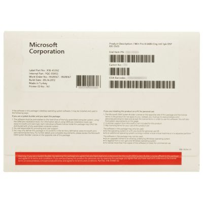 Программное обеспечение Microsoft Windows 8 pro 64B/ENG int DVD 1PK ms FQC-05955