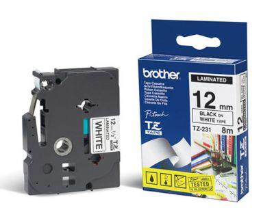 Расходный материал Brother Ламинированная лента шириной 12 мм (Чёрный текст на белом фоне) TZ-231