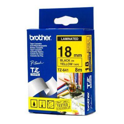 Расходный материал Brother Ламинированная лента шириной 18 мм (Чёрный текст на жёлтом фоне) TZ-641