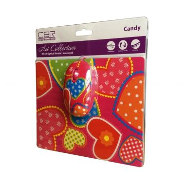 Мышь проводная CBR + коврик Candy