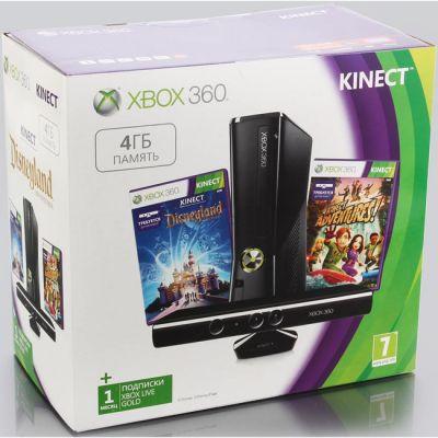 ������� ��������� Microsoft Xbox 360 4GB Kinect Console + Kinect Sports Season 2 + Disneyland Adventures (S4G-00155+45F-00023)