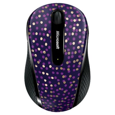 Мышь беспроводная Microsoft Wireless Mobile Mouse 4000 Limited Edition Eggplant Dot Blue Pink USB D5D-00116