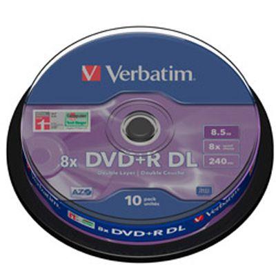 DVD/CD Verbatim DVD+R 8.5 гб, 8х, 10 штук, Cake Box, Double Layer, Matt Silver DVD+RC010DL/V8