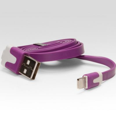 Кабель IQFuture для подключения к USB. Подходит для iPhone 5, iPad 4, iPad Mini, iPod Touch 5, iPod Nano 7 фиолетовый IQ-AC01/V