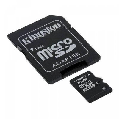 ����� ������ Kingston microSDHC 16Gb Class 4 Flash Card + SD adapter G3 SDC4/16GB