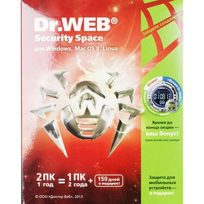 Антивирус Dr.WEB Security Space Pro 2 ПК на 1 год AHW-B-12M-2-A2