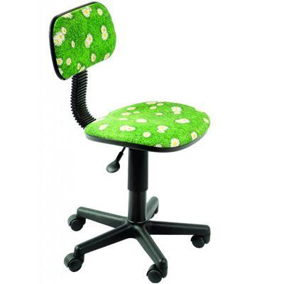 Офисное кресло Бюрократ Ch-201NX ромашки на зеленом фоне
