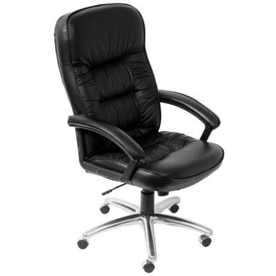 Офисное кресло Бюрократ руководителя (черная кожа, алюминиевая основа) T-9908AXSN-AB