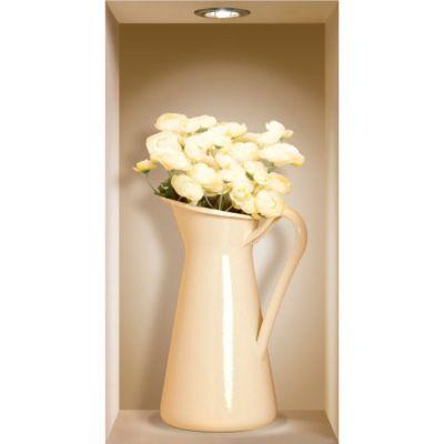 """Декоративная наклейка Nisha Nisha-069 22x42см """"высокие вазы с цветами"""" 3шт"""