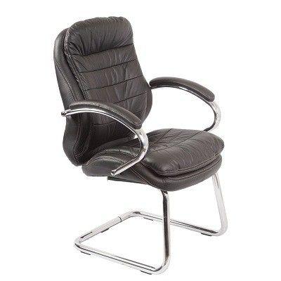 Офисное кресло Бюрократ руководителя (низкая спинка, на полозьях, черная кожа) (68480) T-9950AV/Black