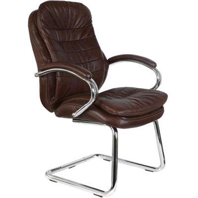 Офисное кресло Бюрократ руководителя (низкая спинка, на полозьях, коричневая кожа) (68481) T-9950AV/Chocolate