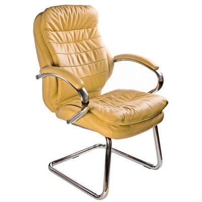 Офисное кресло Бюрократ руководителя (низкая спинка, на полозьях, кожа цвета слоновой кости) (68485) T-9950AV/Ivory