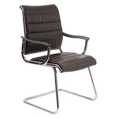 Офисное кресло Бюрократ CH-994AV на полозьях (металлические подлокотники с пластиковыми накладками, черная иск. кожа)