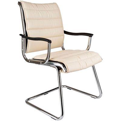 Офисное кресло Бюрократ офисное на полозьях (металлические подлокотники с пластиковыми накладками, иск. кожа цв. слоновой кости) CH-994AV/Ivory