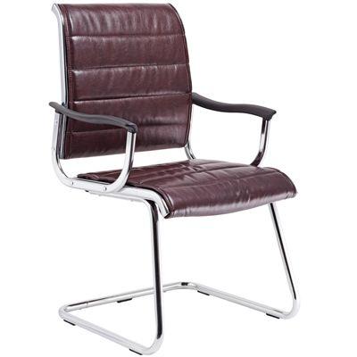 Офисное кресло Бюрократ на полозьях (металлические подлокотники с пластиковыми накладками, темно - коричневая кожа с полиуретановым покрытием) (68511) CH-994AV/Choco