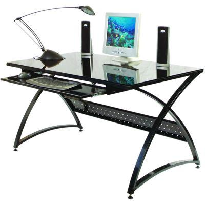 Стол Бюрократ SIGMA-5/Black (чёрный, стекло)