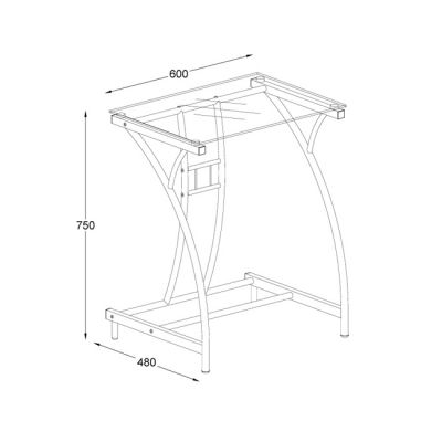 Стол Бюрократ GD-002/Black (чёрный, стекло)
