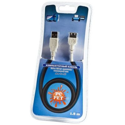 Кабель Pc Pet удлинитель USB2.0 Am-Af extension cable 1.8m