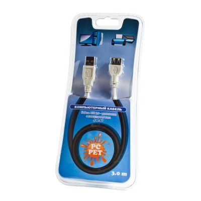Кабель Pc Pet удлинитель USB2.0 Am-Af extension cable 3m