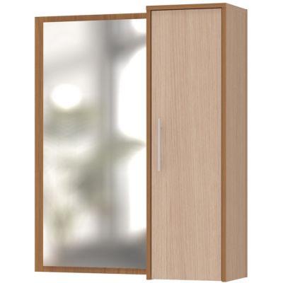 Шкаф Сокол с зеркалом ПЗ-4 (Корпус Ясень шимо темный / Фасад Беленый дуб)