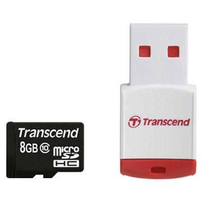 Карта памяти Transcend 8GB microSDHC Class 10 (USB ридер P3) TS8GUSDHC10-P3