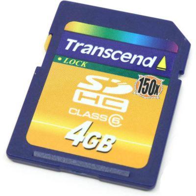 Флешка Transcend 4Gb SDHC Class 6 TS4GSDHC150
