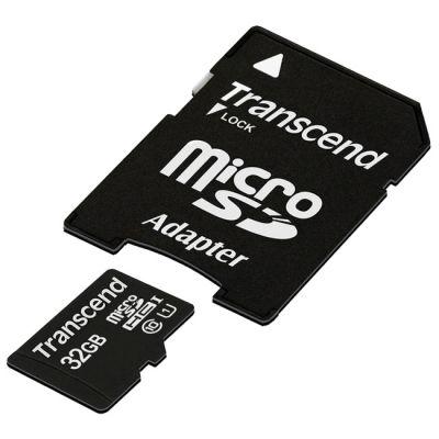 Карта памяти Transcend 32GB microSDHC Class 10 UHS-1 (SD адаптер) TS32GUSDU1