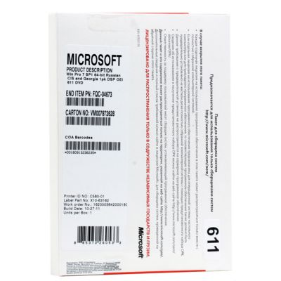 ����������� ����������� Microsoft Windows Professional 7 SP1 64-bit Russian CIS and Georgia 1pk DSP OEI DVD LCP FQC-08297