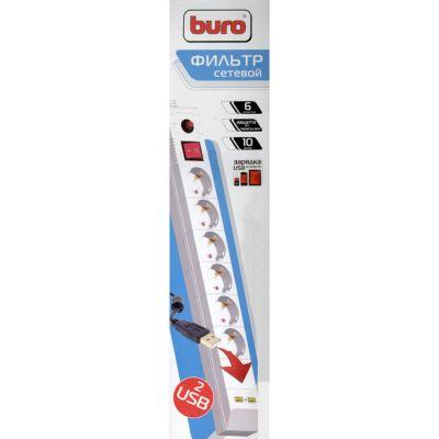 Сетевой фильтр Buro чёрный (6 розеток, 3 метра, 2 USB) BU-SP3.0_USB/B