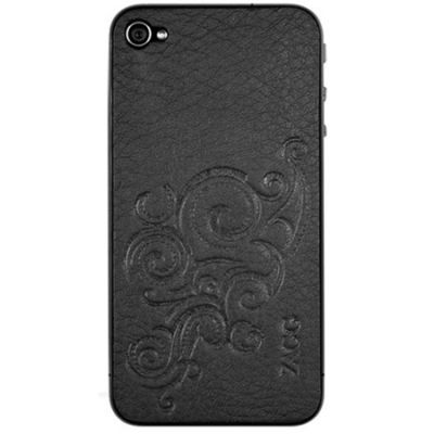 Zagg наклейка для iPhone 4/4S LEATHERskin embossed Black LSBLKFLZL73