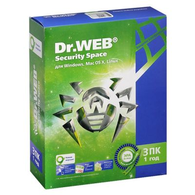 Антивирус Dr.WEB Security Space 3 ПК/1 год BHW-B-12M-3-A3