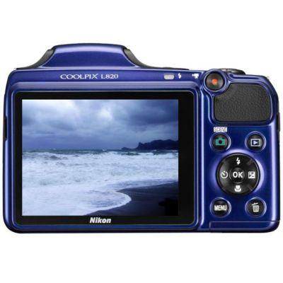 Компактный фотоаппарат Nikon Coolpix L820/Blue [VNA332E1]