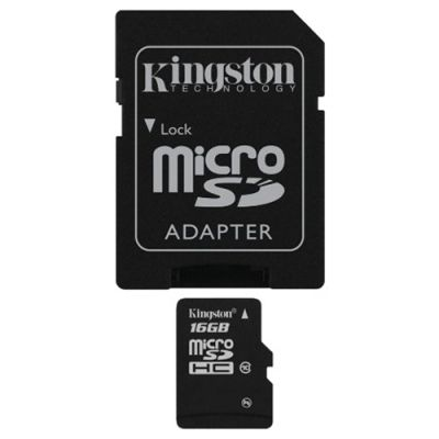 ����� ������ Kingston microSDHC 16GB Class 10 Flash Card + SD adapter SDC10/16GB