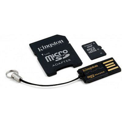 Карта памяти Kingston 4GB microSDHC Class 4 (SD адаптер + USB ридер) MBLY4G2/4GB