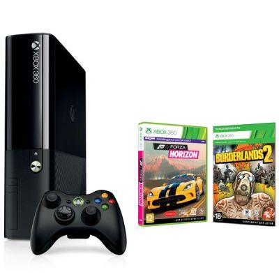 Игровая приставка Microsoft Xbox 360 E 250GB Console + игры (Borderlands 2 и Forza Horizon) + бесплатный статус Xbox LIVE 1M
