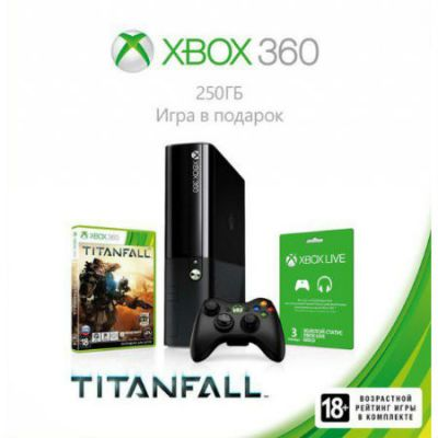 ������� ��������� Microsoft Xbox 360 E 250GB Console + ���� Titanfall + 3 ������ �������� Xbox LIVE