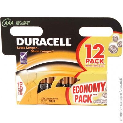 Батарейки Duracell AAA 12шт LR03/MN2400