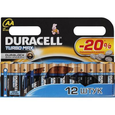 Батарейки Duracell Turbo 12шт AA LR6/MX1500