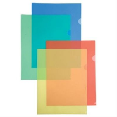 Бюрократ Папка-уголок E100clear, тисненый А4 ,пластик, 0.10мм (прозрачный)