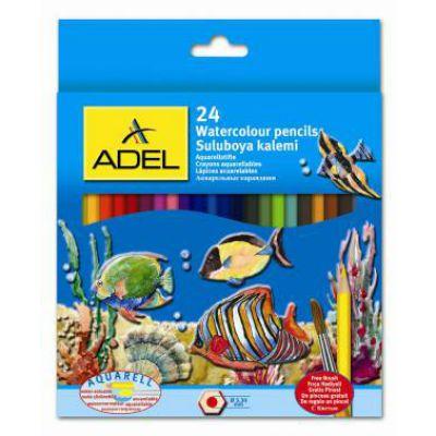 Adel Карандаши цветные Aquacolor акварельные, 3мм, 24 цв., кисточка 216 2660 000