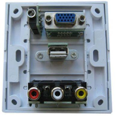 Espada Настенная панель-переходник RCA+USB+VGA+3.5mm EWPRCAUSBVGA3.5