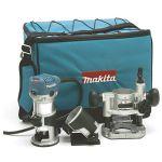 Фрезерная машина Makita кромочная RT0700CX2 (710 Вт, цанги 6-8 мм,10000-30000 об, набор подошв, 1.8 кг,сумка)