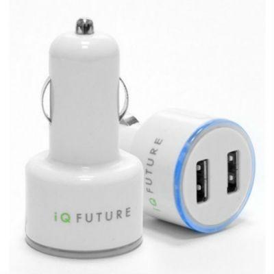 Зарядное устройство IQFuture автомобильное на 2 USB порта для iPhone, iPod и многих других смартфонов и планшетов IQ-DCC01/W