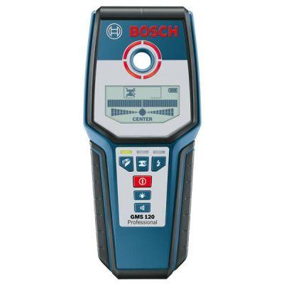 Металлоискатель Bosch GMS 120 0601081000 (глуб.черн.мет.120 мм, медь 80 мм, дерев.40 мм, LCD дисплей, чехол, 0,28 кг)
