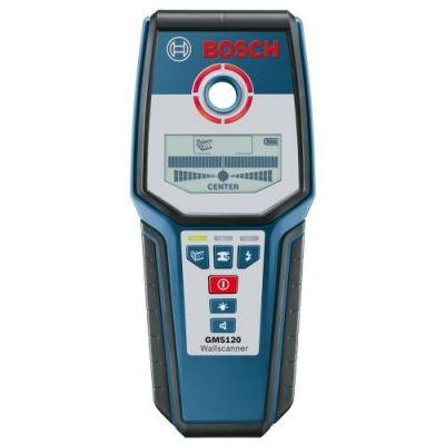 Металлоискатель Bosch GMS 120 06159940B0 + наручные часы (глуб.черн.мет.120 мм, медь 80 мм, дерев.40 мм, LCD дисплей, чехол, 0,28 кг)